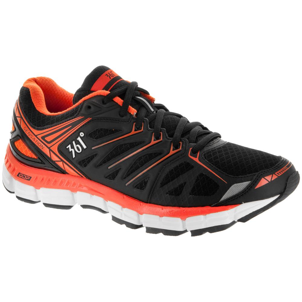 361 Sensation: 361 Men's Running Shoes Black/Red Orange/White
