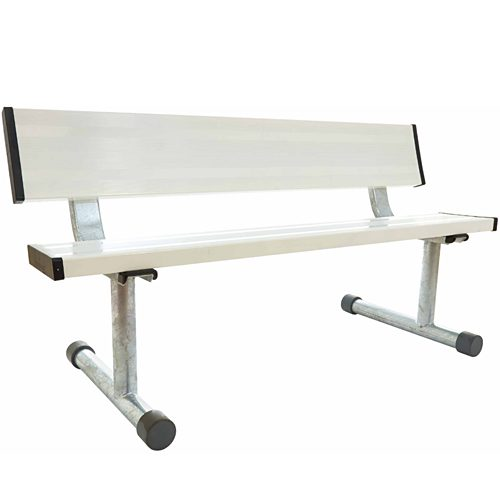 5' Aluminum Bench with Back - White: RolDri Court Equipt