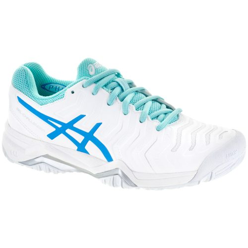 ASICS GEL-Challenger 11: ASICS Women's Tennis Shoes White/Diva Blue/Aqua Splash
