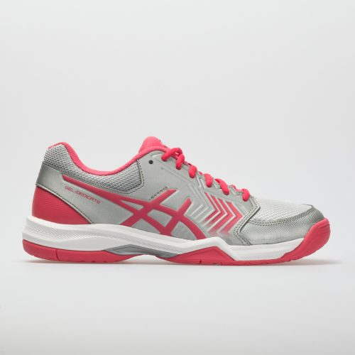 ASICS GEL-Dedicate 5: ASICS Women's Tennis Shoes Silver/Rogue Red/White