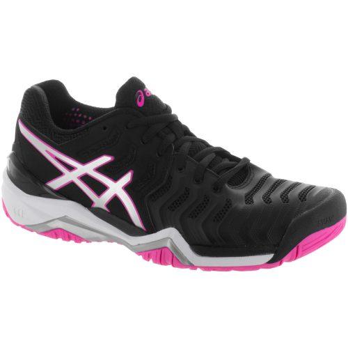 ASICS GEL-Resolution 7: ASICS Women's Tennis Shoes Black/Silver/Hot Pink