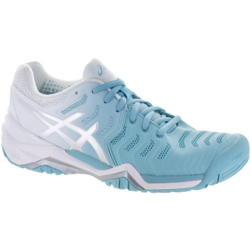 ASICS GEL-Resolution 7: ASICS Women's Tennis Shoes Porcelain Blue/Silver/White