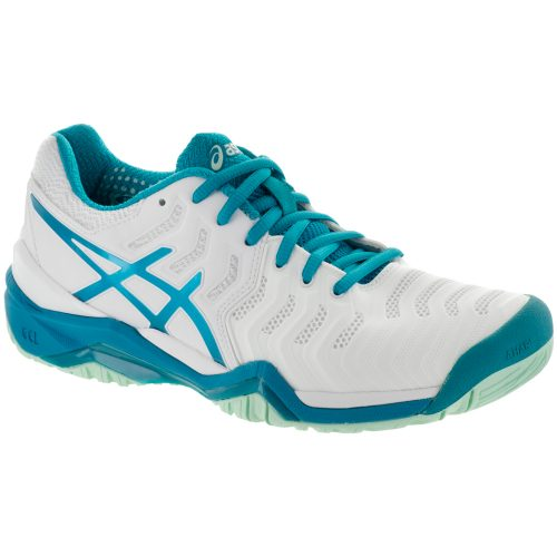 ASICS GEL-Resolution 7: ASICS Women's Tennis Shoes White/Artic Aqua/Glacier Sea