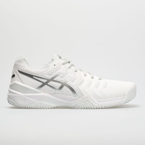 ASICS GEL-Resolution 7 Clay Court: ASICS Men's Tennis Shoes White/Silver