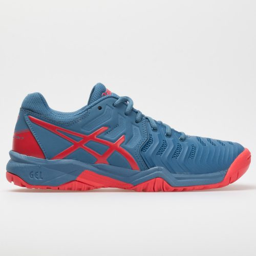 ASICS GEL-Resolution 7 Junior Azure/Red Alert: ASICS Junior Tennis Shoes
