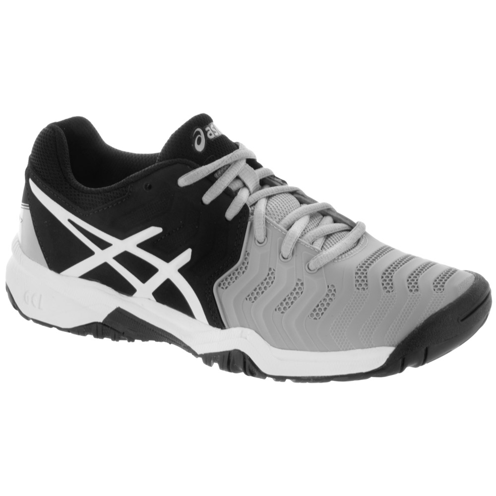 ASICS GEL-Resolution 7 Junior Mid Grey/Black/White: ASICS Junior Tennis Shoes