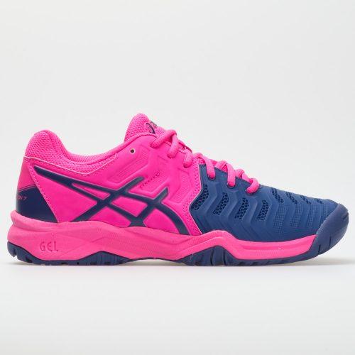 ASICS GEL-Resolution 7 Junior Pink Glo/Blue Print: ASICS Junior Tennis Shoes