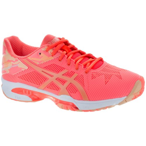 ASICS GEL-Solution Speed 3: ASICS Women's Tennis Shoes LE Flash Coral/Canteloupe