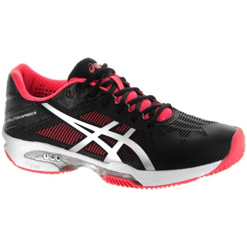 ASICS GEL-Solution Speed 3 Clay: ASICS Women's Tennis Shoes Black/Silver/Diva Pink