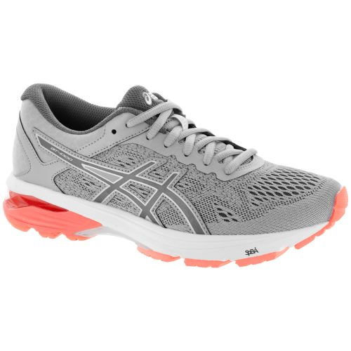 ASICS GT-1000 6: ASICS Women's Running Shoes Mid Grey/Carbon/Flash Coral