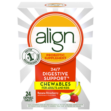 Align Probiotic Supplement Chewables Banana Strawberry Smoothie - 24 ea