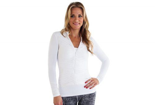 Alii Sport Adriana Rhinestone Ruched Jacket - Women's - white, x-large