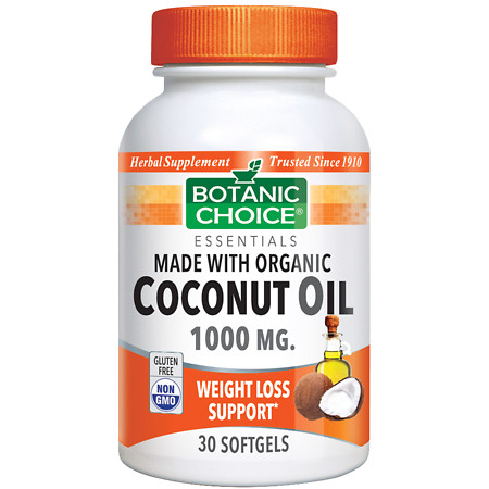 Botanic Choice Organic Coconut Oil 1000 mg Herbal Supplement Softgels - 30 ea.