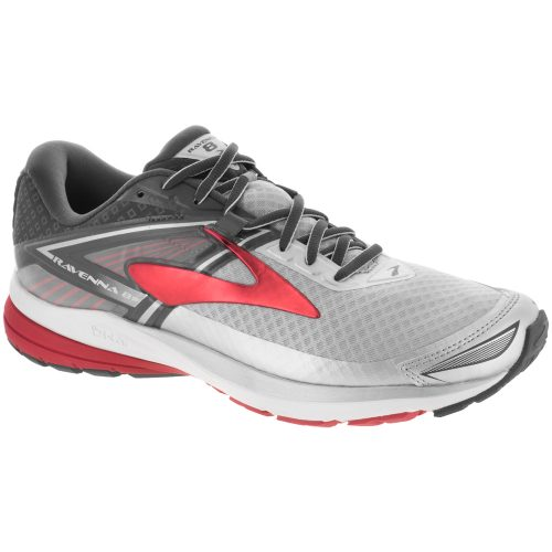 Brooks Ravenna 8: Brooks Men's Running Shoes Silver/Anthracite/High Risk Red