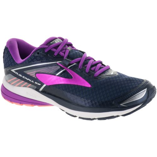Brooks Ravenna 8: Brooks Women's Running Shoes Peacoat/Purple Cactus Flower/Fusion Coral