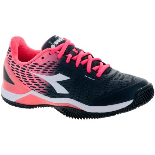 Diadora Speed Blushield 2 Clay: Diadora Women's Tennis Shoes Black/Fluo Coral