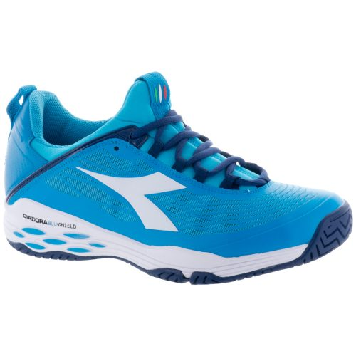 Diadora Speed Blushield Fly AG: Diadora Men's Tennis Shoes Blue Fluo/White