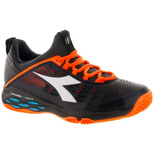 Diadora Speed Blushield Fly Clay: Diadora Men's Tennis Shoes Black/Orange Vibrant