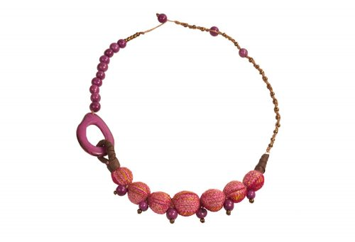 Faire Collection Fabric Necklace - fuchsia, 18-20""