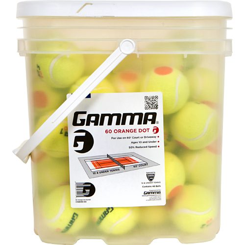 Gamma 60 Orange Dot 48 Ball Bucket: Gamma Tennis Balls