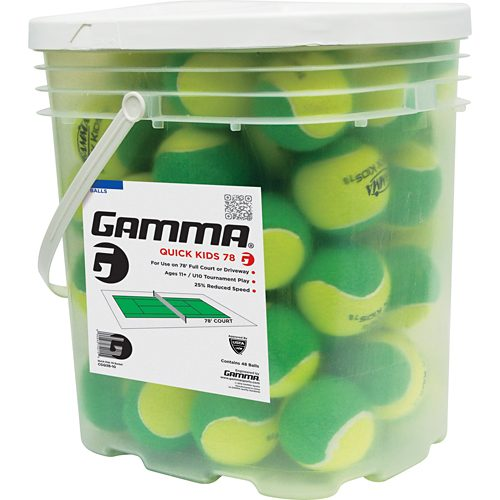 Gamma Quick Kids 78 Soft Full Court Bucket of 48: Gamma Tennis Balls