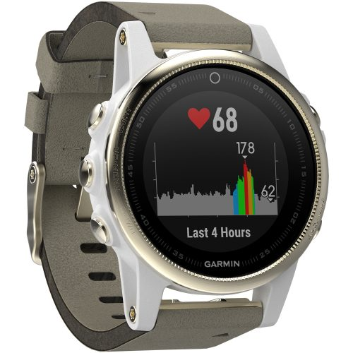 Garmin fenix 5s Champagne Sapphire with Gray Suede Band: Garmin Heart Rate Monitors