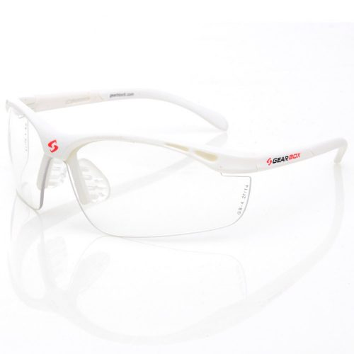 Gearbox Slim Fit Clear Lens White Frame: Gearbox Eyeguards