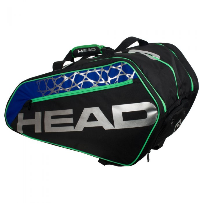 HEAD Racquetball Tour Bag Black/Royal/Green: HEAD Racquetball Bags