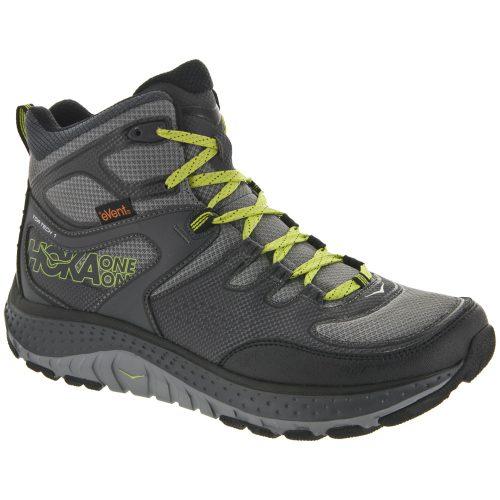 Hoka One One Tor Tech Mid WP: Hoka One One Men's Hiking Shoes Grey/Acid