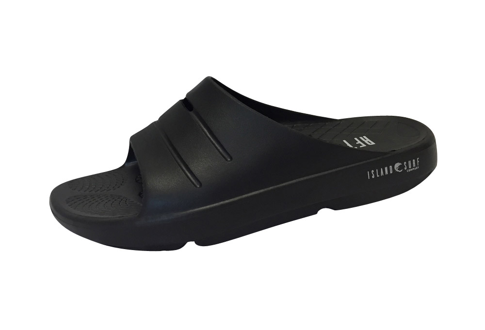 Island Surf Company Crest Slides - Men's - black, 8