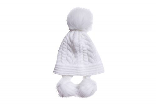 MUK LUKS Cable Pom Hat - vanilla, one size