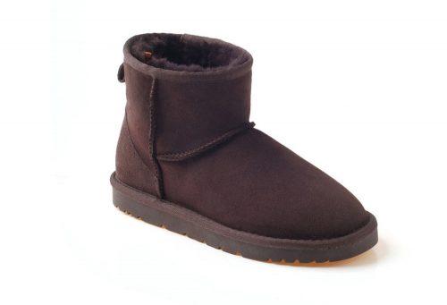 Ozwear Genuine Sheepskin Mini Boots - Women's - chocolate, 10.5-11