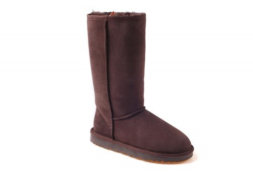 Ozwear Genuine Sheepskin Tall Boots - Women's - chocolate, 10.5-11