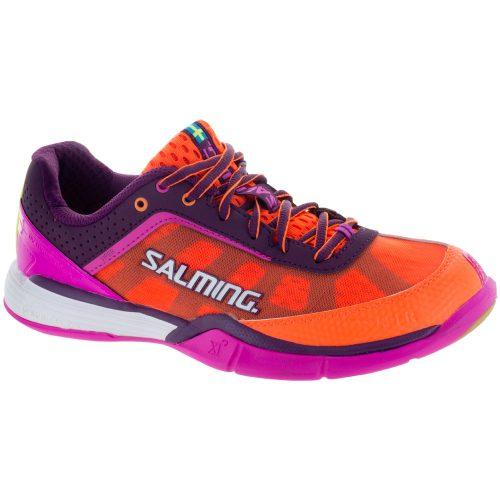 Salming Viper 4: Salming Women's Indoor, Squash, Racquetball Shoes Purple/Orange