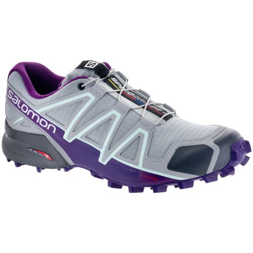 Salomon Speedcross 4: Salomon Women's Running Shoes Quarry/Acai/Fair Aqua