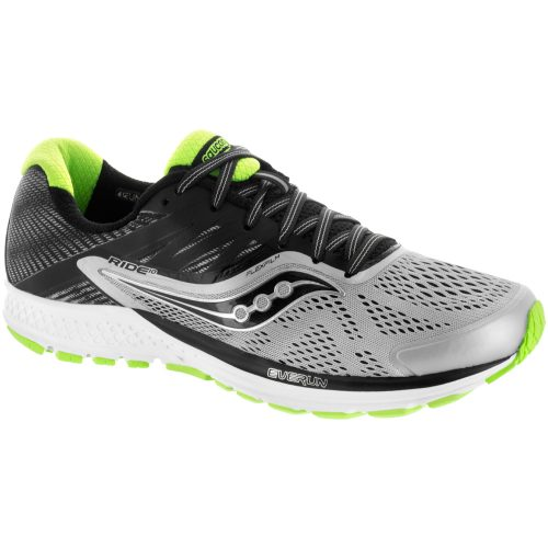 Saucony Ride 10: Saucony Men's Running Shoes Grey/Black/Slime
