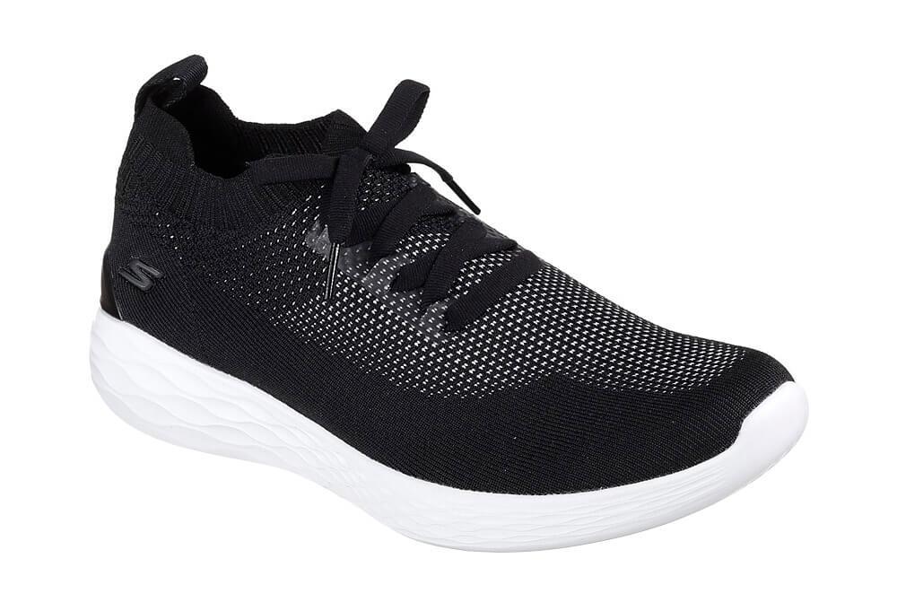 Skechers Knitted Slip Ons - Men's - black/white, 10