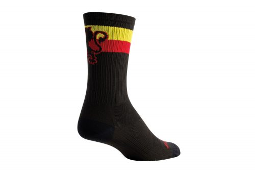 "Sock Guy SGX 6"" Belgie Lion Socks - black/red/yellow, l/xl"