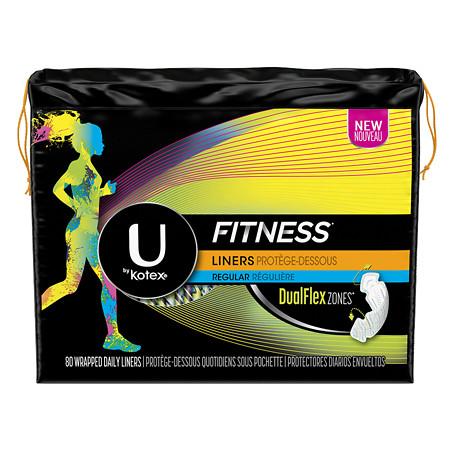 U by Kotex Fitness Panty Liners, Light Absorbency, Regular Unscented - 80 ea