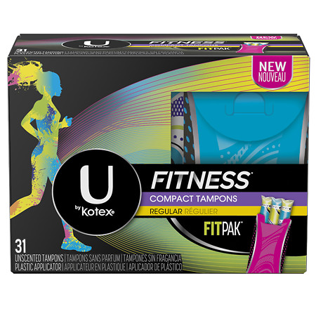 U by Kotex Fitness Tampons with FITPAK, Regular Absorbency Unscented - 31 ea