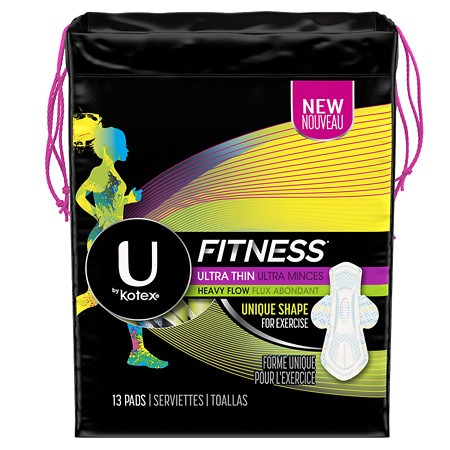 U by Kotex Fitness Ultra Thin Pads with Wings, Heavy Absorbency Unscented - 13 ea