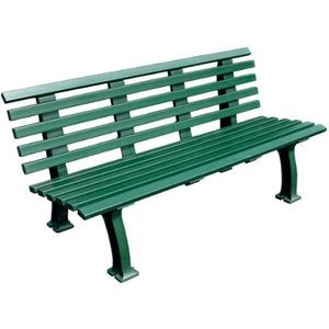 Unique 5' Polyethelene and PVC Bench with Back - Green: Tourna Court Equipt