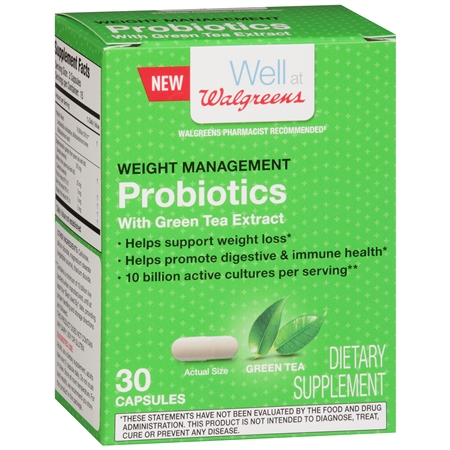 Walgreens Weight Management Probiotics with Green Tea Extract Capsules - 30 ea
