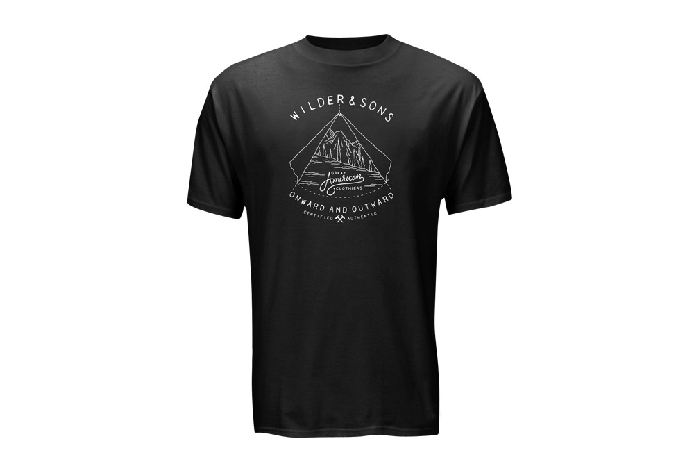 Wilder & Sons Onward & Outward T-Shirt - Men's - white/black, small