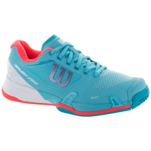 Wilson Rush Pro 2.5: Wilson Women's Tennis Shoes Blue Curacao/White/Fiery Coral