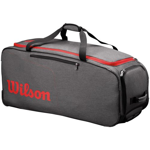 Wilson Wheeled Coaches Duffel Grey/Red: Wilson Tennis Bags