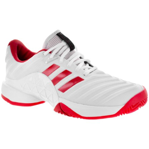 adidas Barricade 2018: adidas Women's Tennis Shoes White/Scarlet