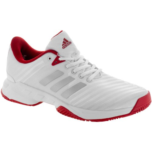 adidas Barricade Court: adidas Men's Tennis Shoes White/Matte Silver/Scarlet