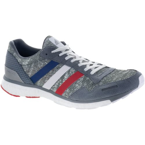 adidas adizero Adios 3: adidas Men's Running Shoes Grey Four/White/Scarlet