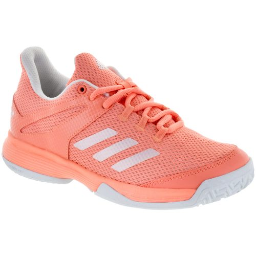 adidas adizero Club K Junior Chalk Coral/White/Blue Tint: adidas Junior Tennis Shoes